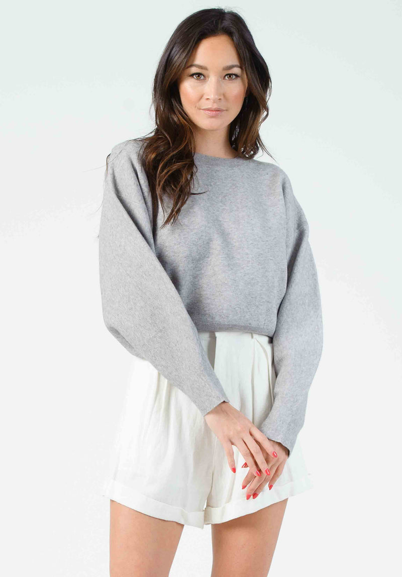MIRANDA BUBBLE SLEEVE CROPPED SWEATER | GRAY