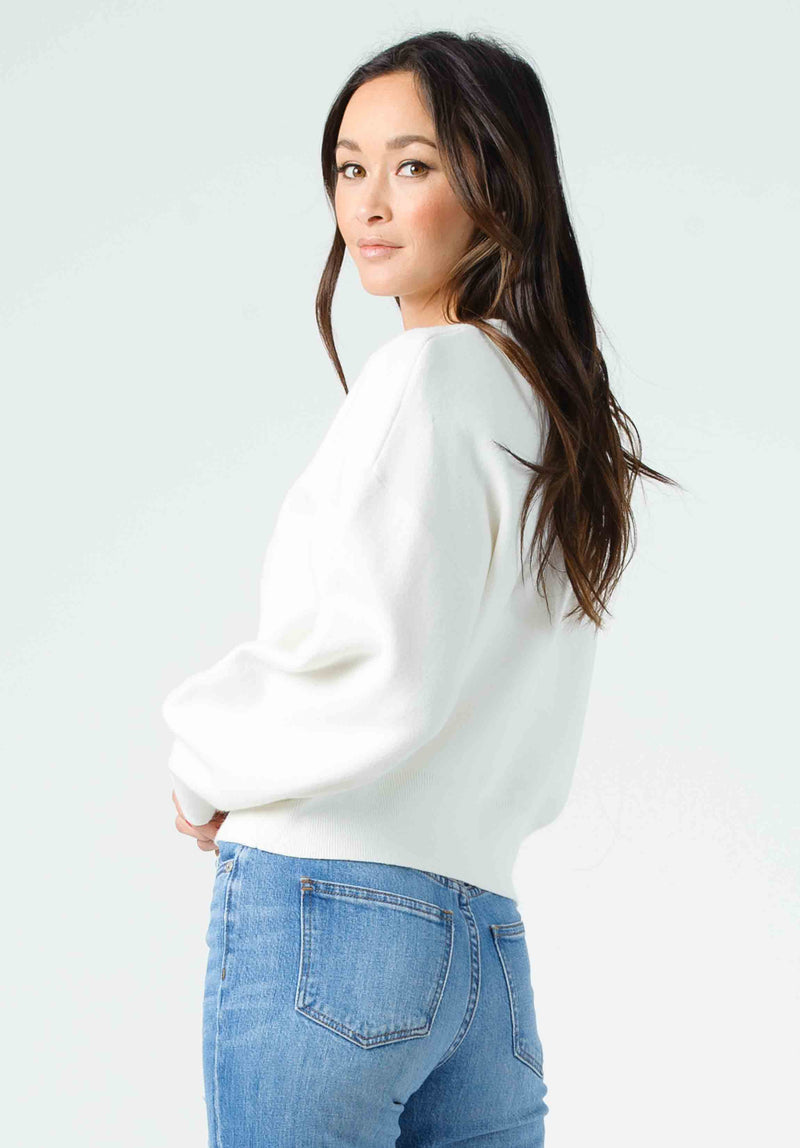 MIRANDA BUBBLE SLEEVE CROPPED SWEATER | OFF WHITE