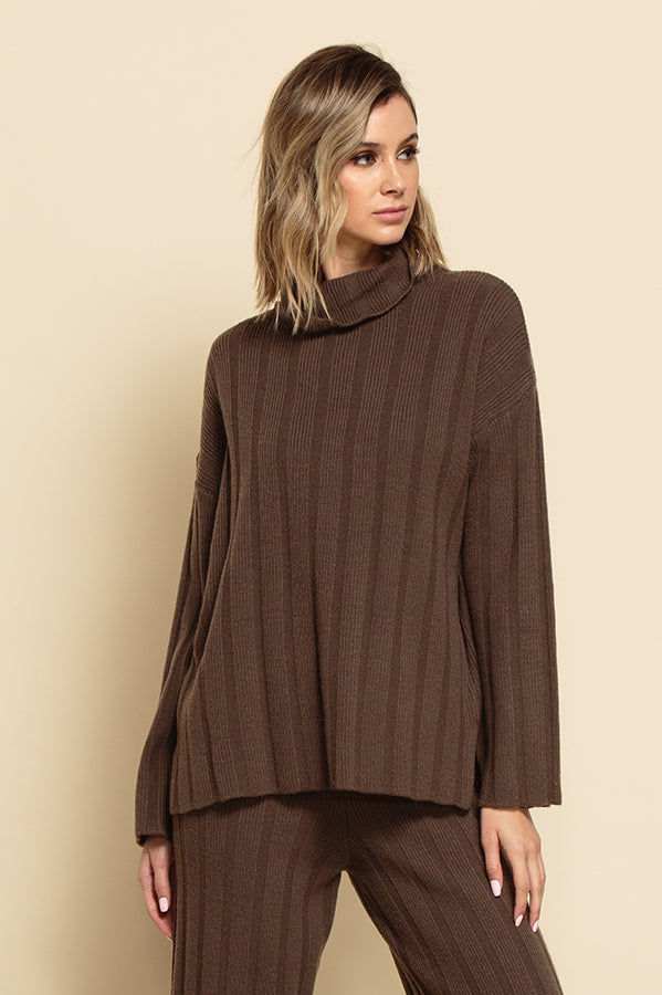 NOELLE TASSEL COWL CABLE KNIT SWEATER | HONEY