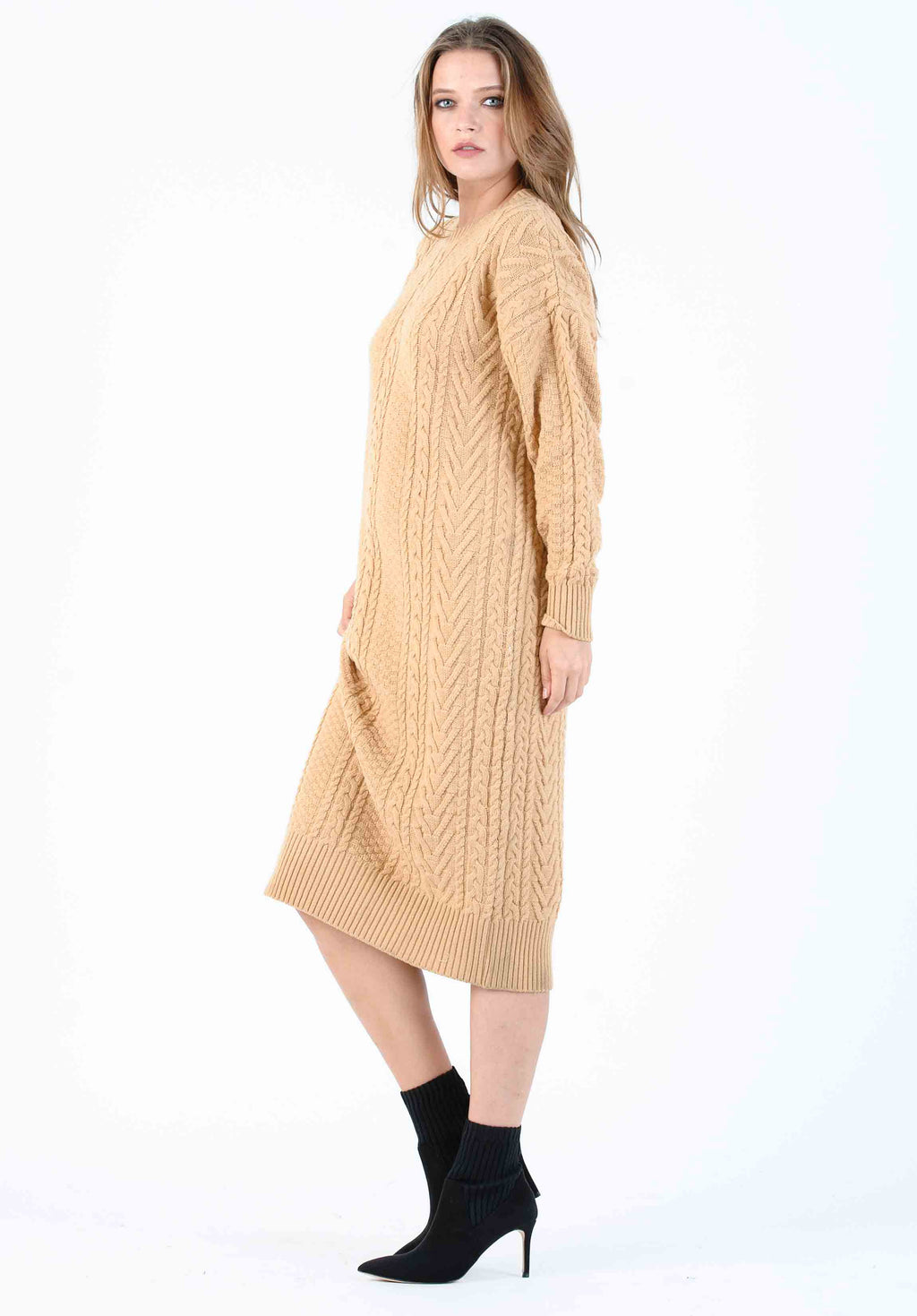 JAYLA CABLE KNIT SWEATER DRESS | HONEY