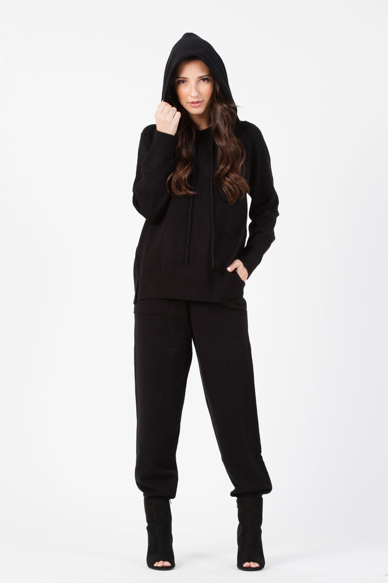 KNIT SWEATER JOGGER PANT | BLACK