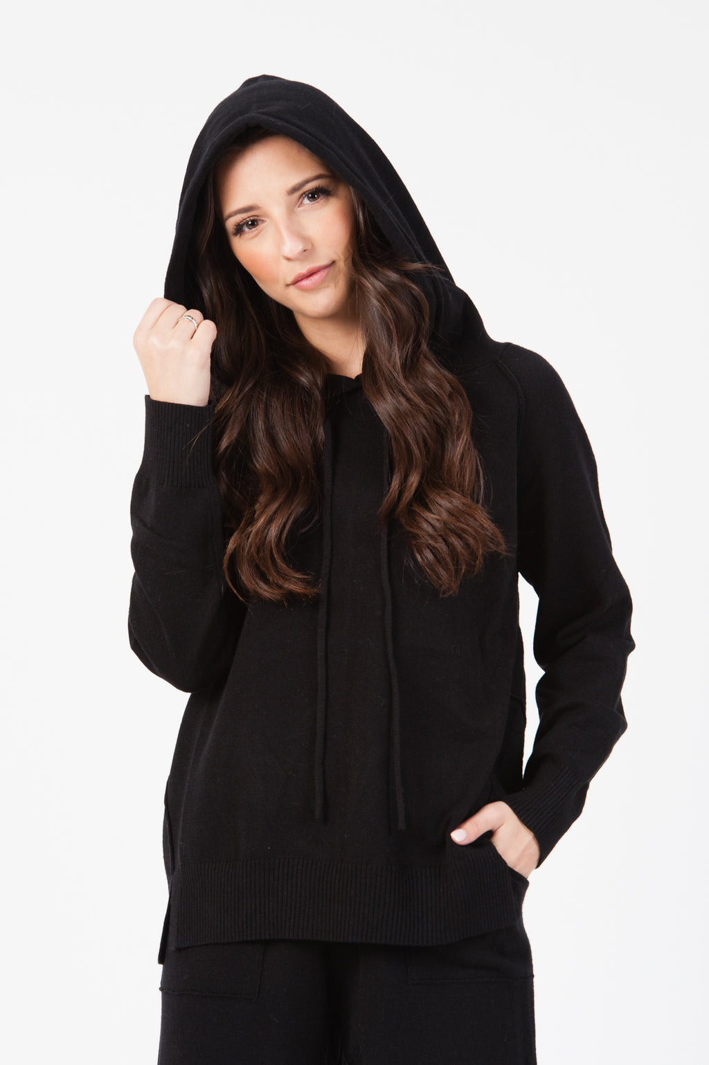 KNIT SWEATER HOODIE| BLACK