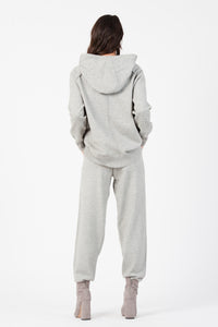 KNIT SWEATER HOODIE| HEATHER GREY
