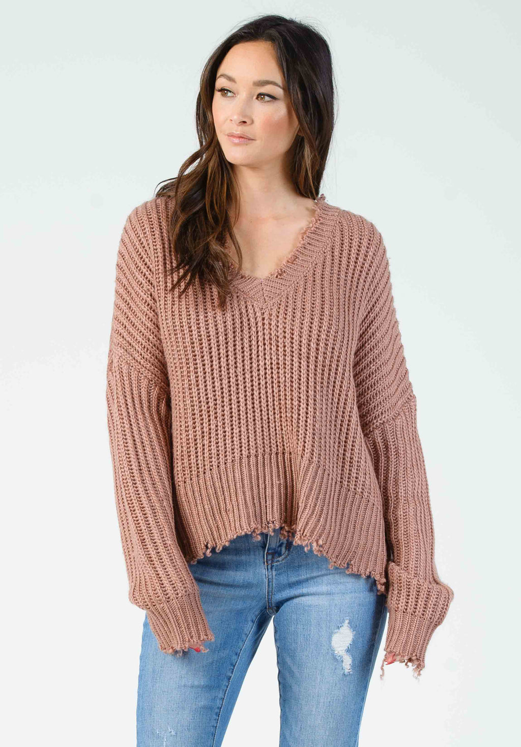 TOM SHRED EDGE SWEATER | MAUVE