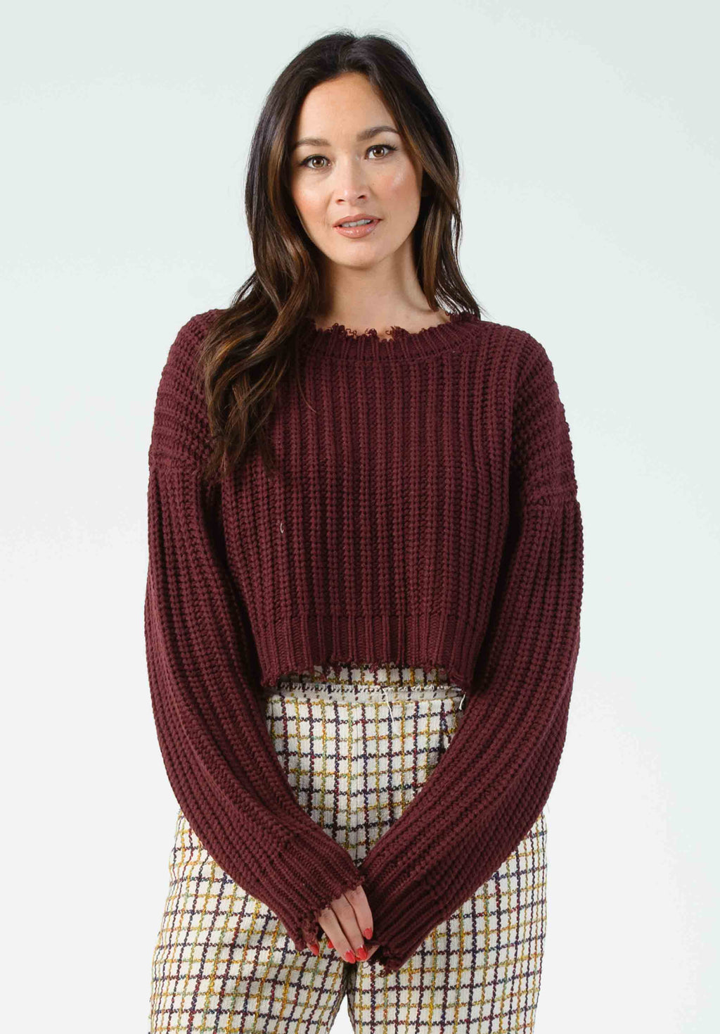 VINCE CROPPED EDGE SWEATER | DARK BURGUNDY