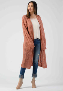 MATT CABLE KNIT CARDIGAN | PINK