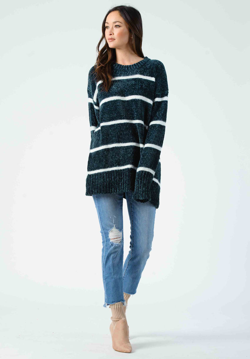 ANDREW STRIPED SWEATER | FOREST GREEN/WHITE