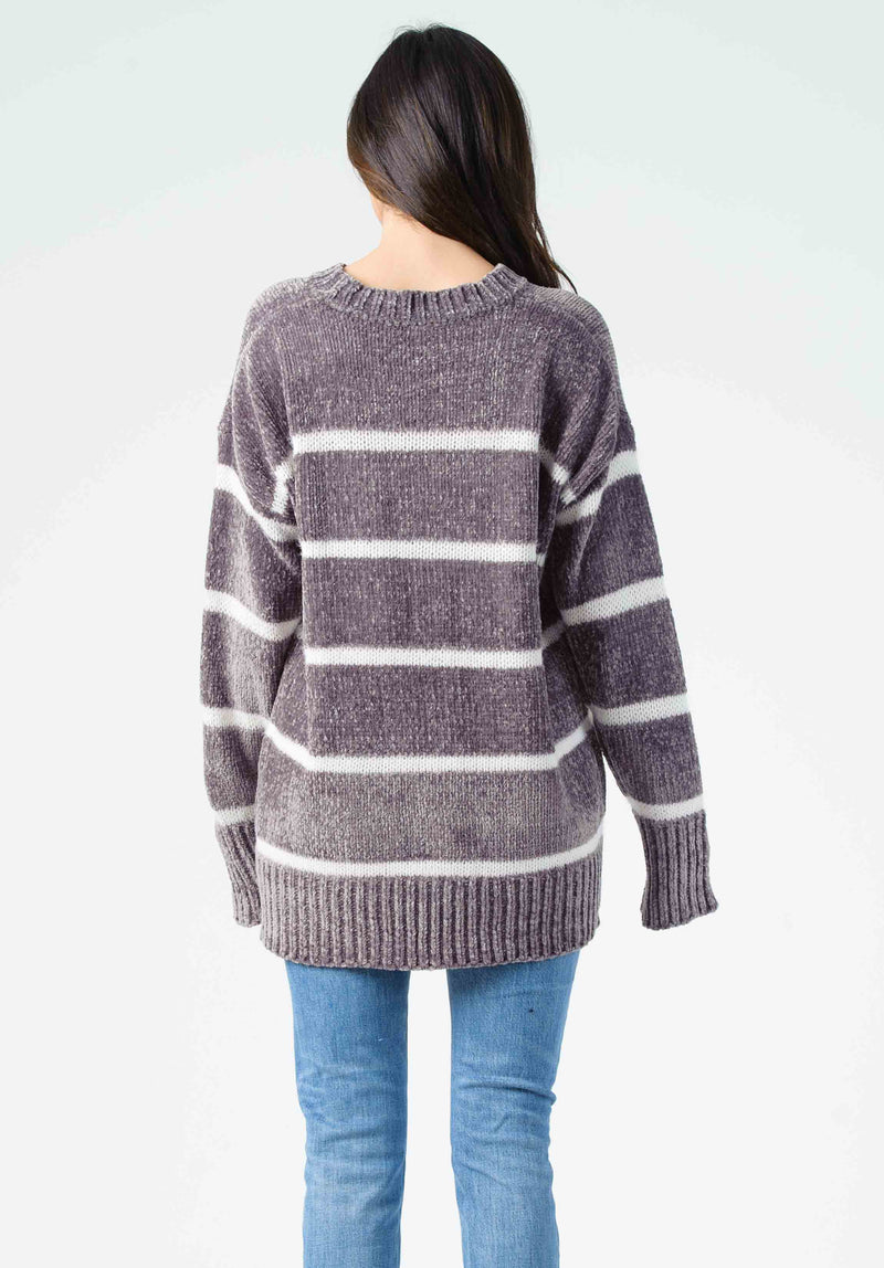 ANDREW STRIPED SWEATER | GRAY/WHITE