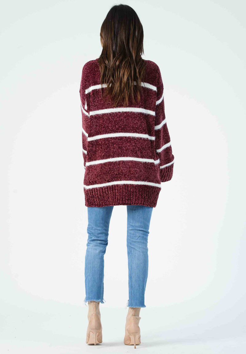 ANDREW STRIPED SWEATER | DARK PURPLE/WHITE