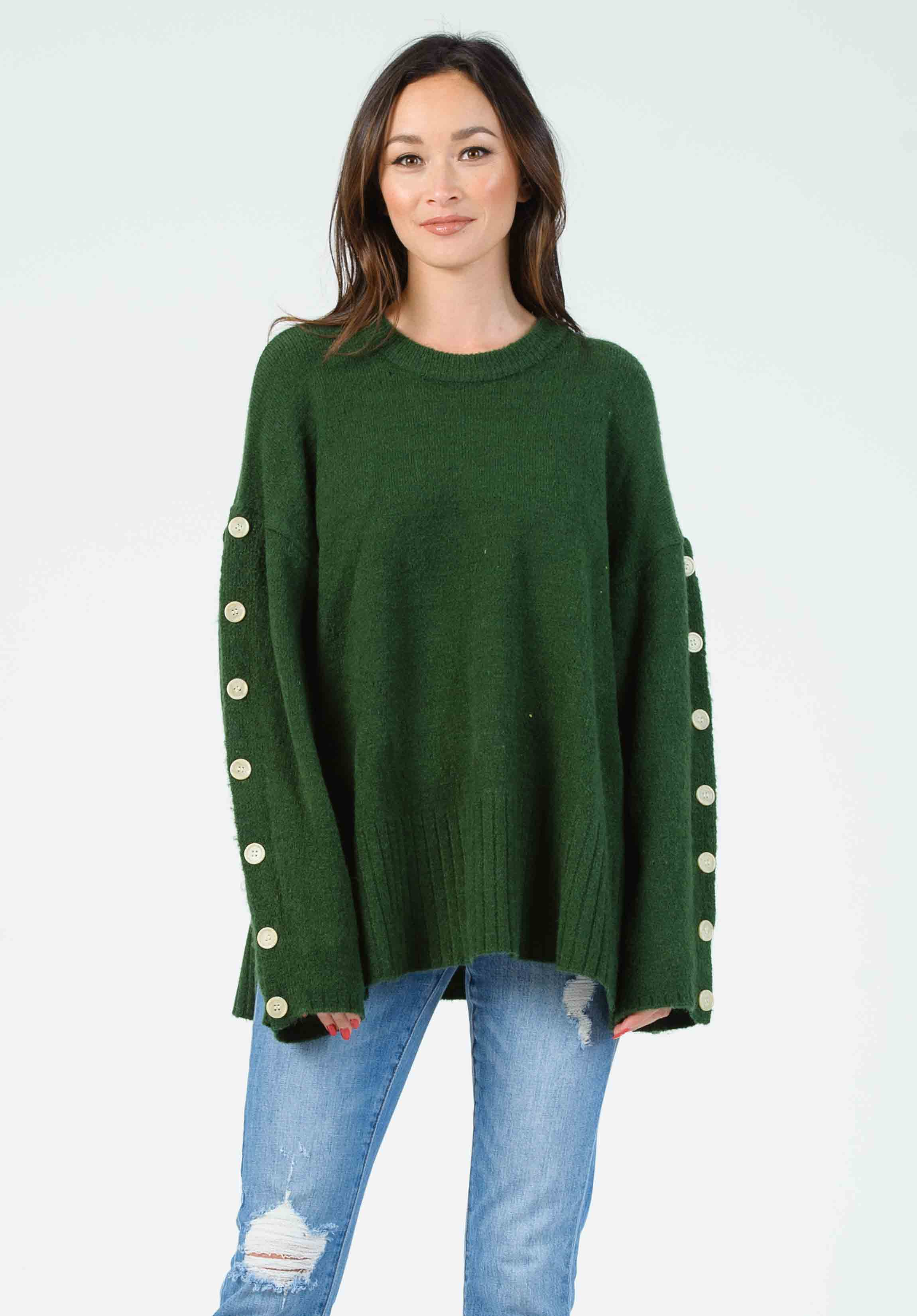 BELINDA BUTTON SLEEVE PULLOVER | FOREST GREEN
