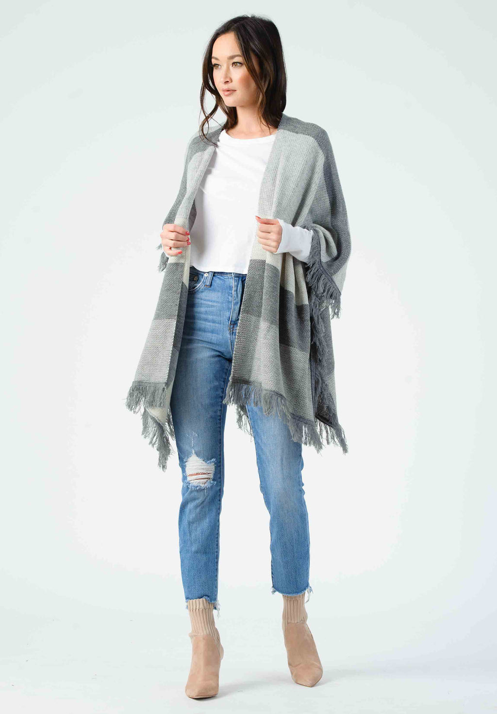 JEANILINE COLORBLOCK CARDIGAN | GRAY/OFF WHITE