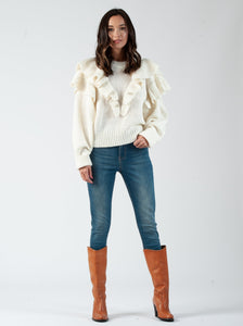 CONNIE IVORY RUFFLE SWEATER
