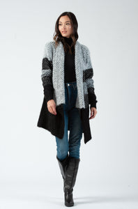 GREYSCALE DRAPED FRONT CARDIGAN
