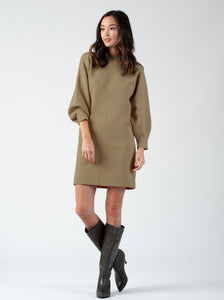 MIRANDA BUBBLE SLEEVE SWEATER DRESS| BROWN