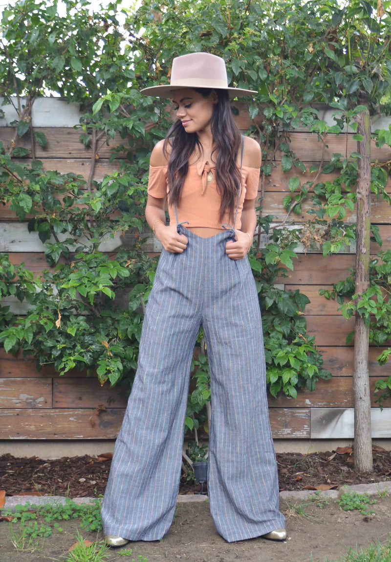 JORDAN WIDE LEG SUSPENDER JUMPSUIT | BLACK RAINBOW STRIPE
