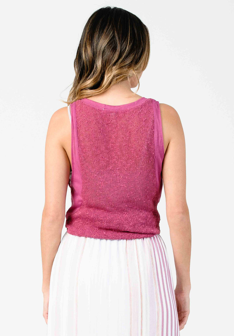 FREESIA KNIT TANK | RASPBERRY