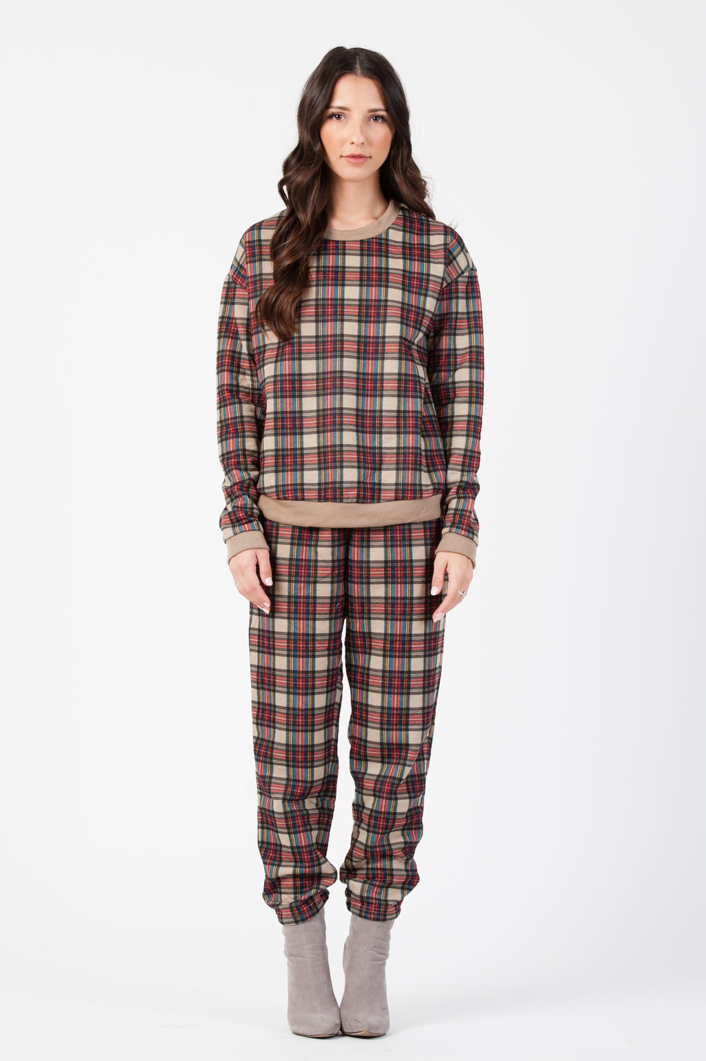 HOLIDAY PLAID SWEATSHIRT| RED/TAN PLAID