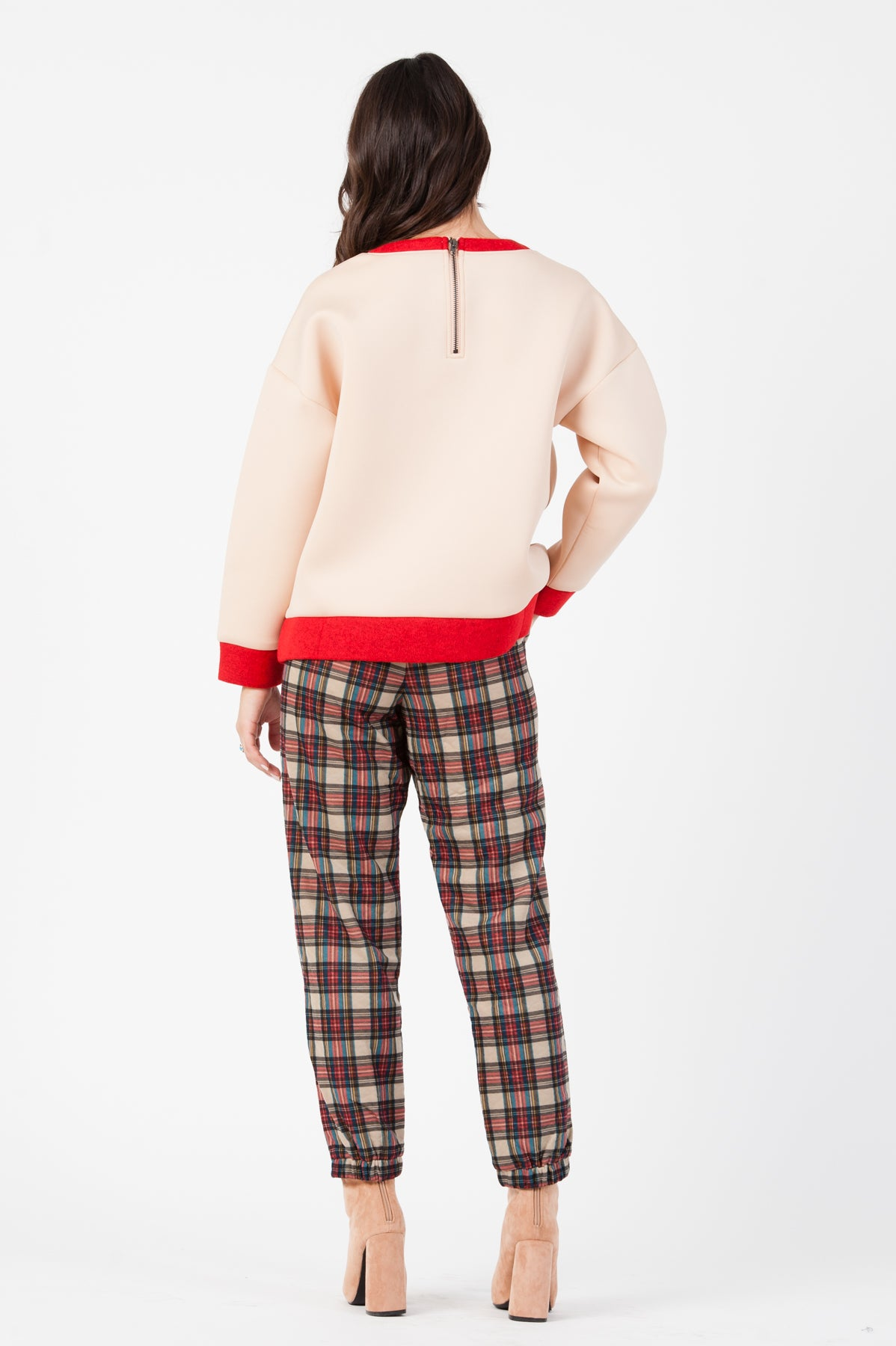 NEOPRENE COLOR BLOCKED SWEATSHIRT| NUDE/RED
