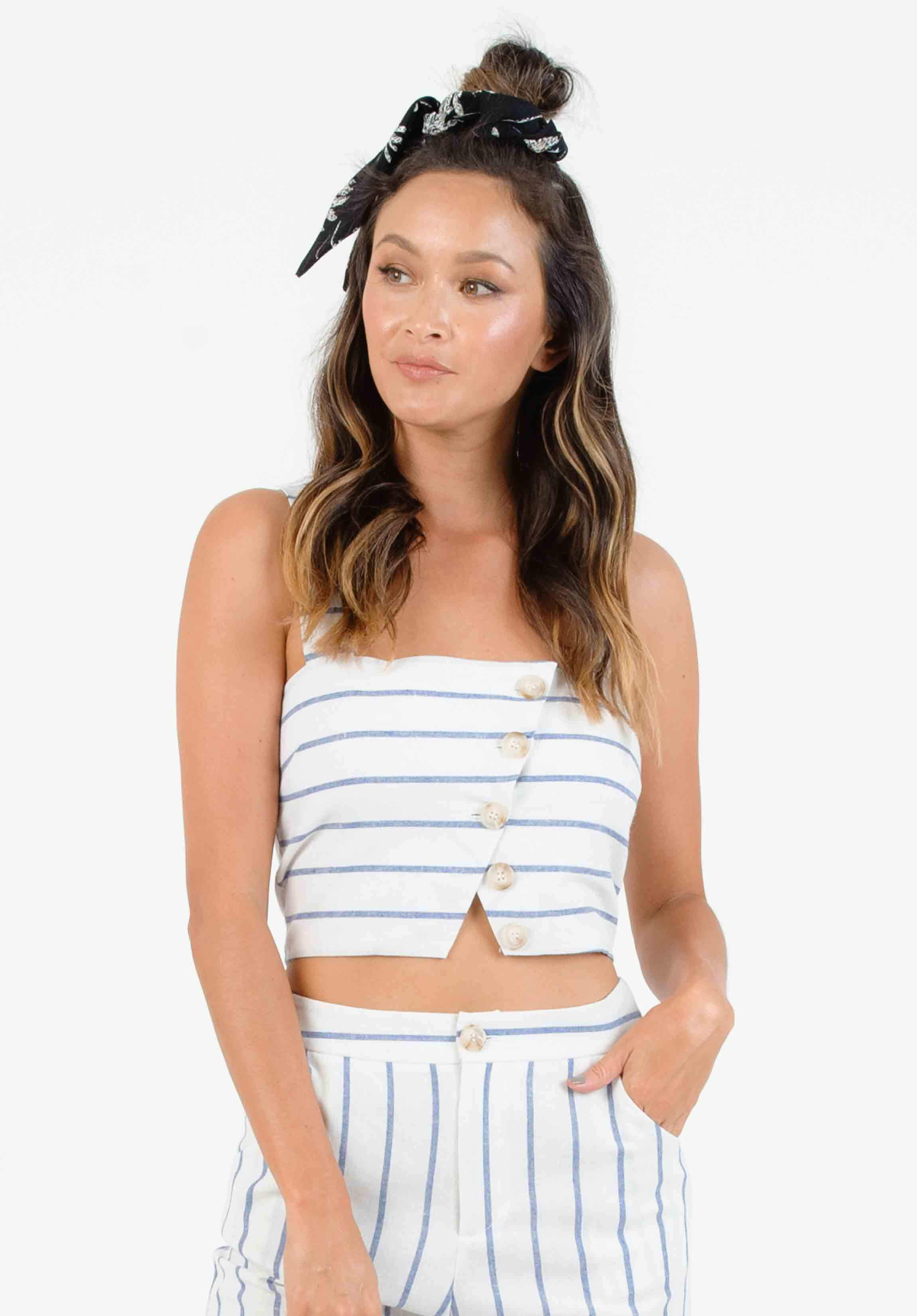EMERY BUTTON CROP CAMI | BLUE/WHITE STRIPE