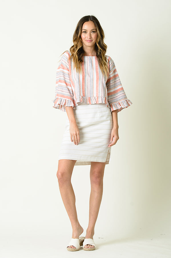 JOCELYN SIDE SLIT PENCIL SKIRT | TAN/WHITE STRIPES