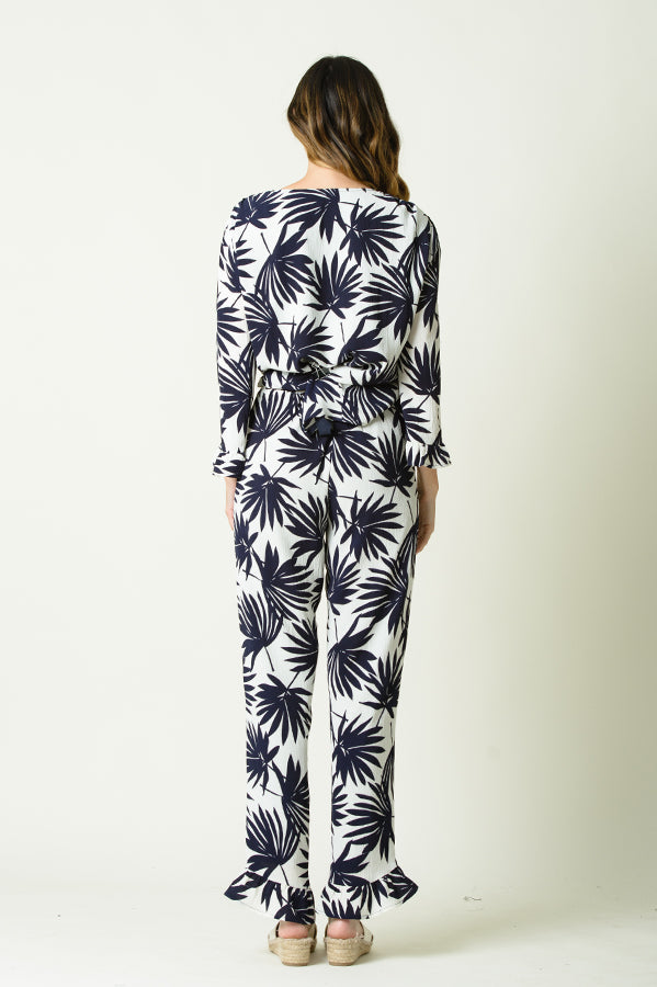 NATALIA RUFFLE WIDE LEG PANTS | NAVY PALM PRINT