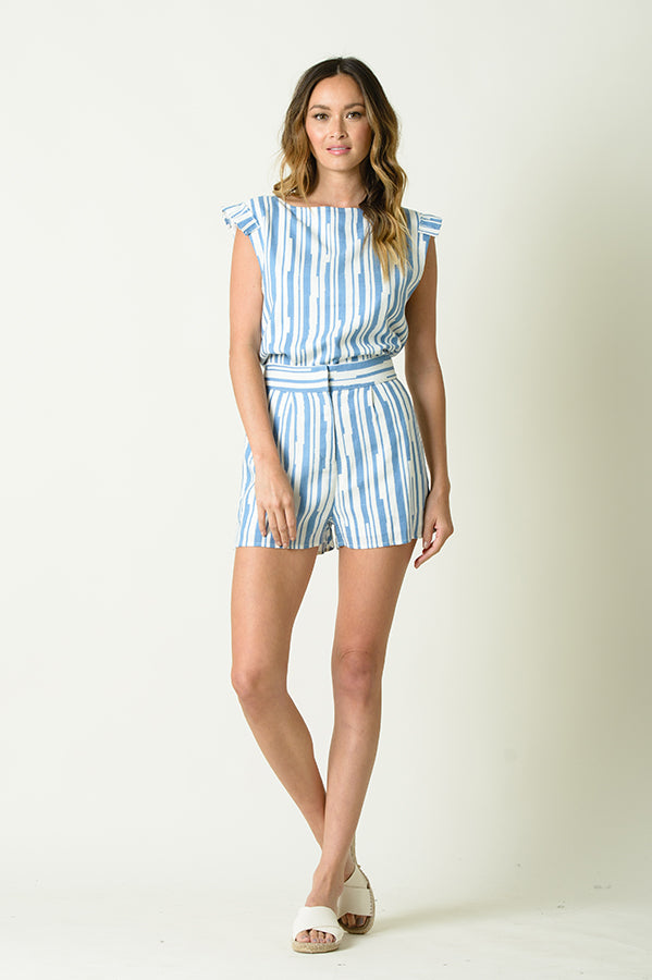 JASMINE CONTRAST STRIPE SHORTS | BLUE STRIPES