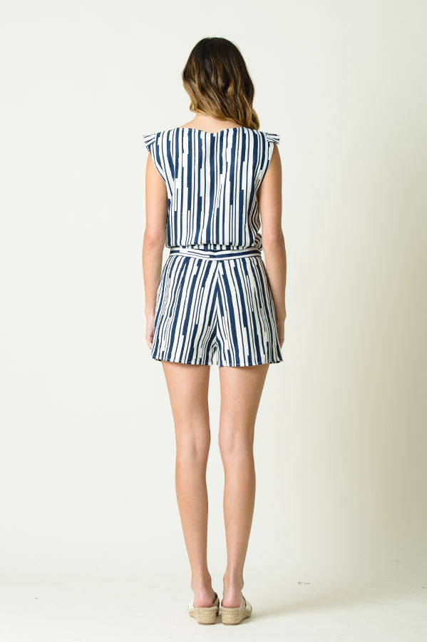 JASMINE CONTRAST STRIPE SHORTS | NAVY STRIPES