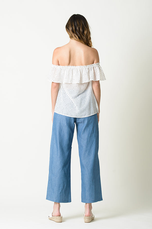 MELODY RUFFLE OVERLAY OTS TOP | WHITE DOT