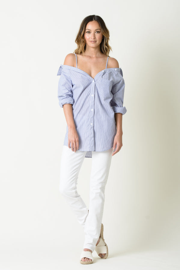REESE COLD SHOULDER BUTTIN UP SHIRT | BLUE STRIPE