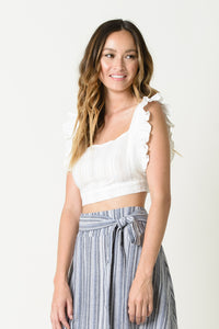 KAITLYN APRON CROP TOP | WHITE