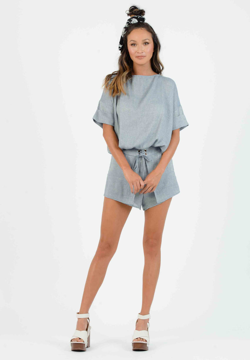 KYLEE OVERLAY LACE UP SHORTS | BLUE DENIM