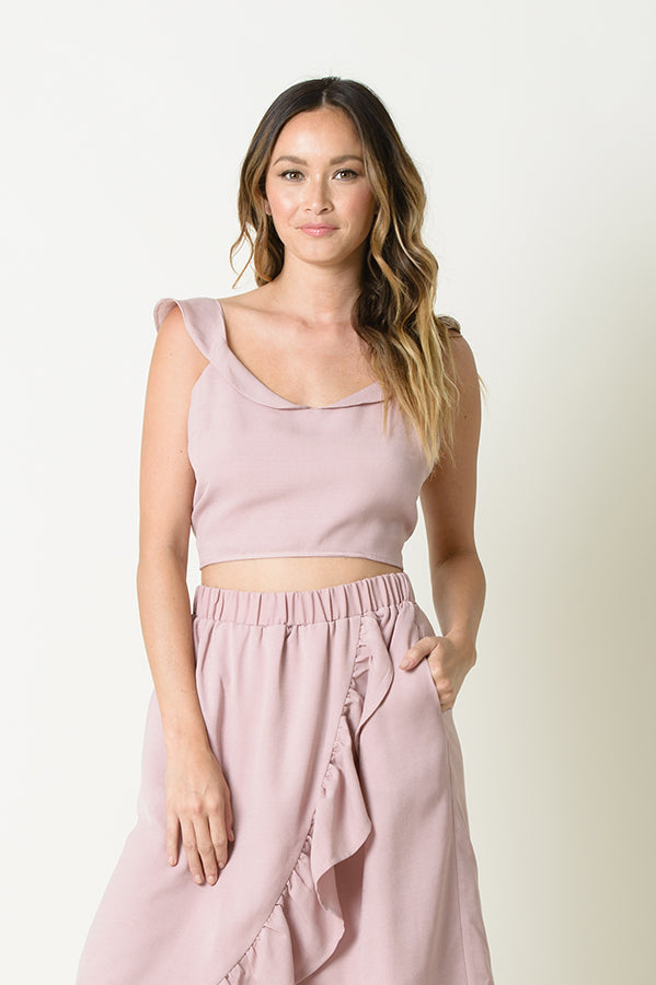 DIANA TIE BACK RUFFLE TOP | DUSTY PINK