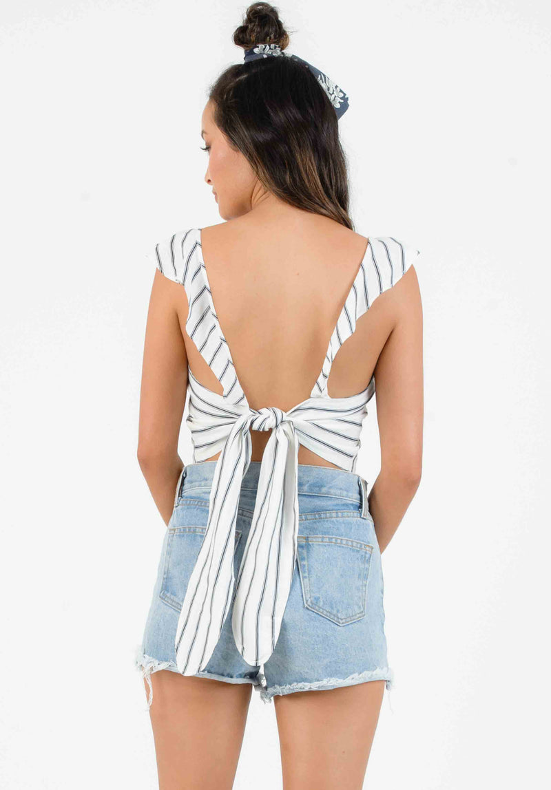 DIANA RUFFLE TIE BACK BLOUSE | WHITE/NAVY STRIPE