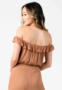 JULIET OFF-SHOULDER CROPPED BLOUSE | CLAY