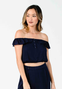 JULIET OFF-SHOULDER CROPPED BLOUSE | NAVY