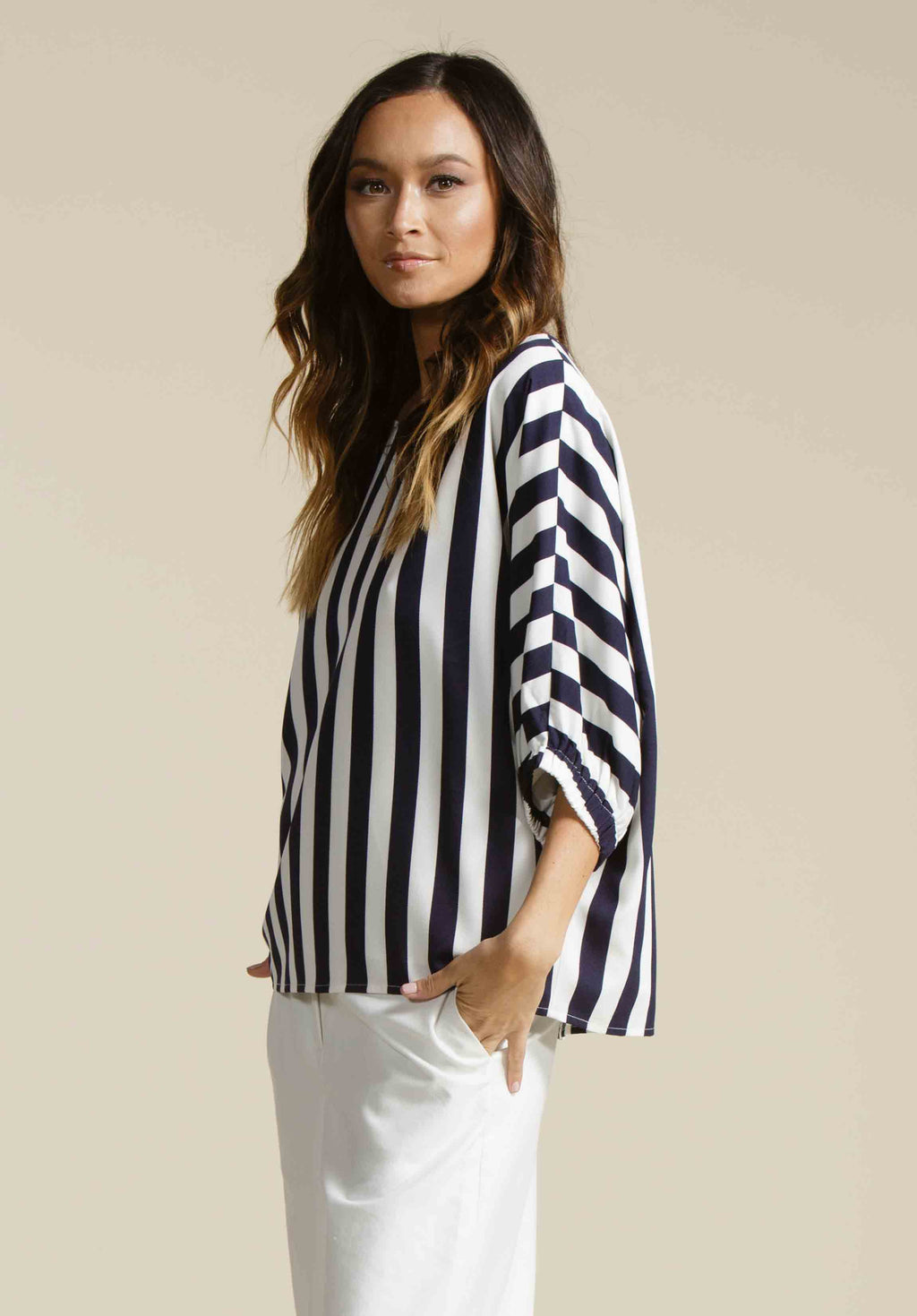 RIVER DOLMAN TOP | NAVY STRIPE