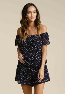 GEORGIA OFF THE SHOULDER RUFFLE TOP | NAVY/PINK DOT