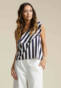 LAURA ONE SHOULDER WOVEN TOP  | NAVY STRIPE