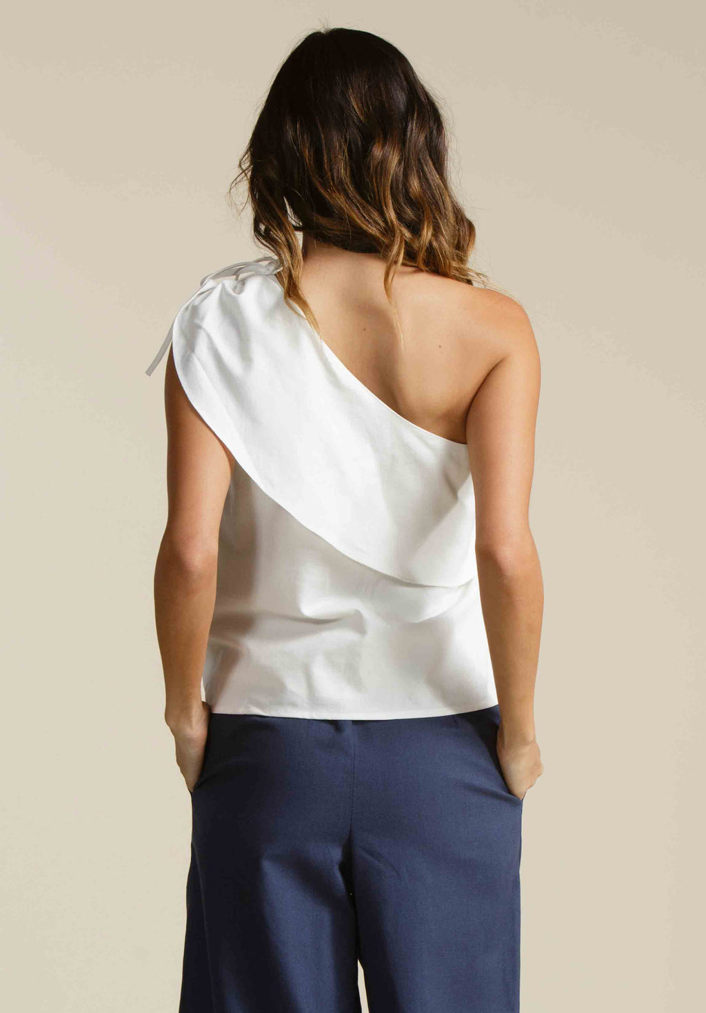 LAURA ONE SHOULDER WOVEN TOP  | WHITE LINEN