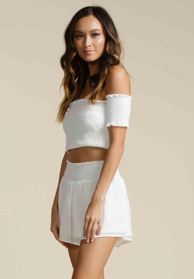 CALI SMOCKED CROP TOP | WHITE GAUZE