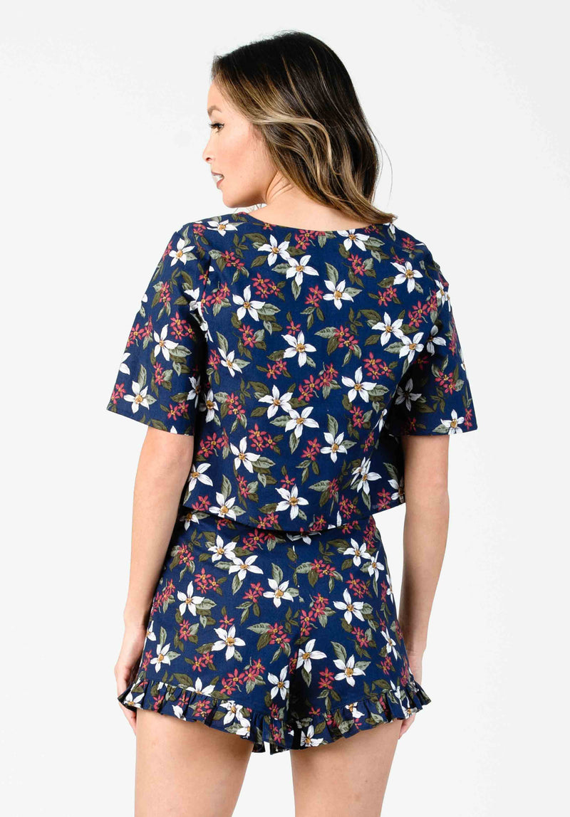 ALISON BUTTON UP CROP TOP | NAVY FLORAL