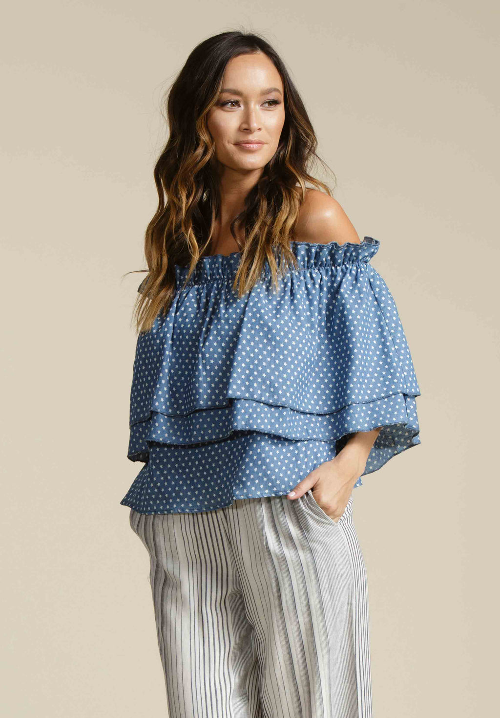 DANIELLE DOUBLE RUFFLE TOP | OCEAN BLUE STAR