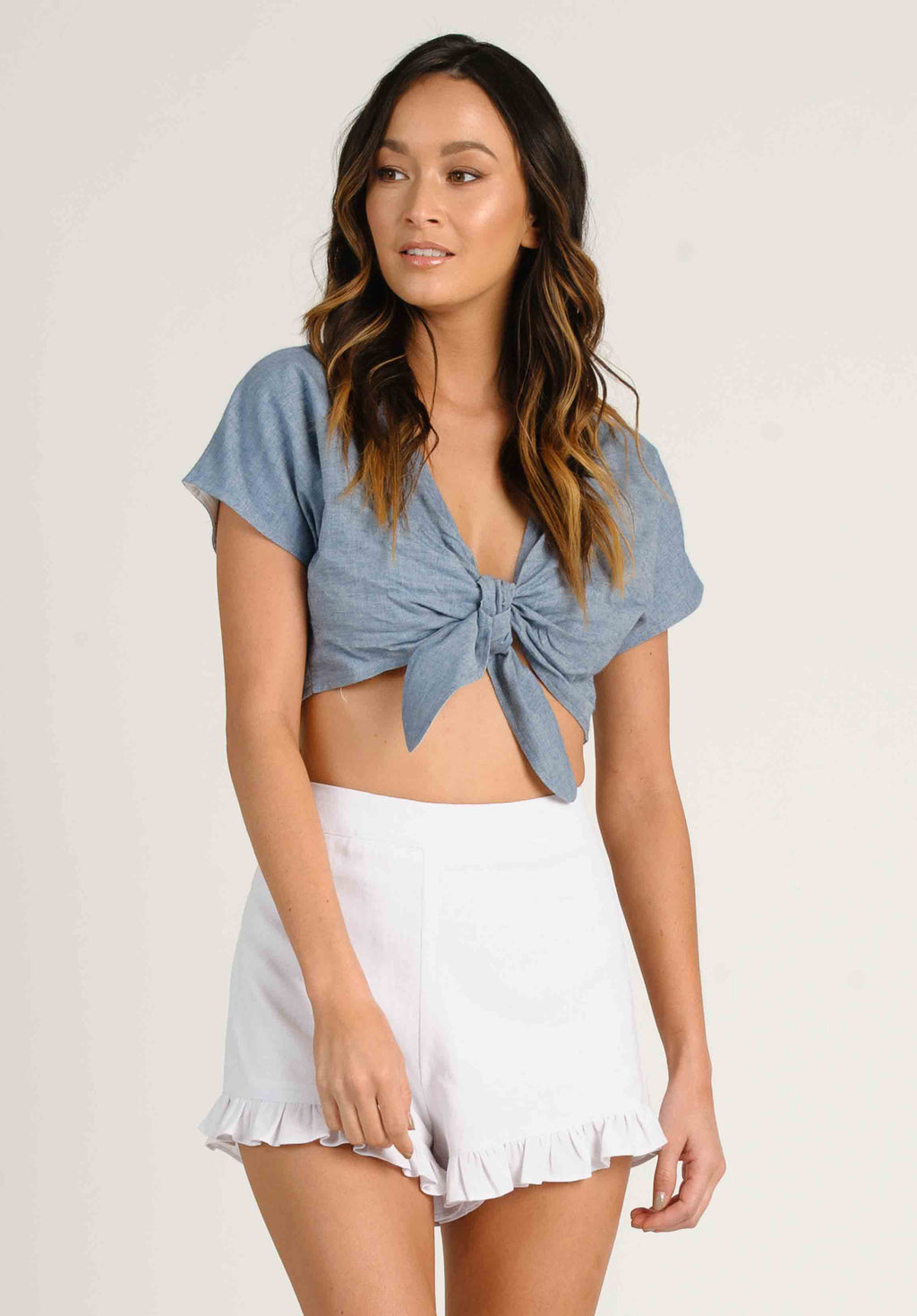 JUNE TIE FRONT CROP TOP | DENIM BLUE