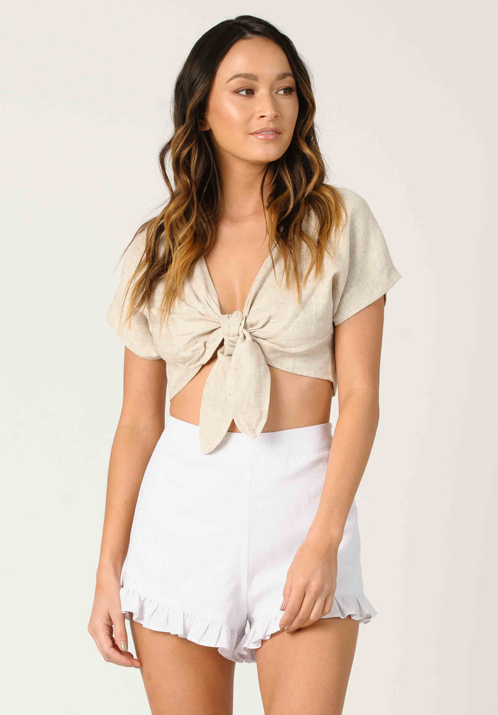 JUNE TIE FRONT CROP TOP | LINEN BEIGE