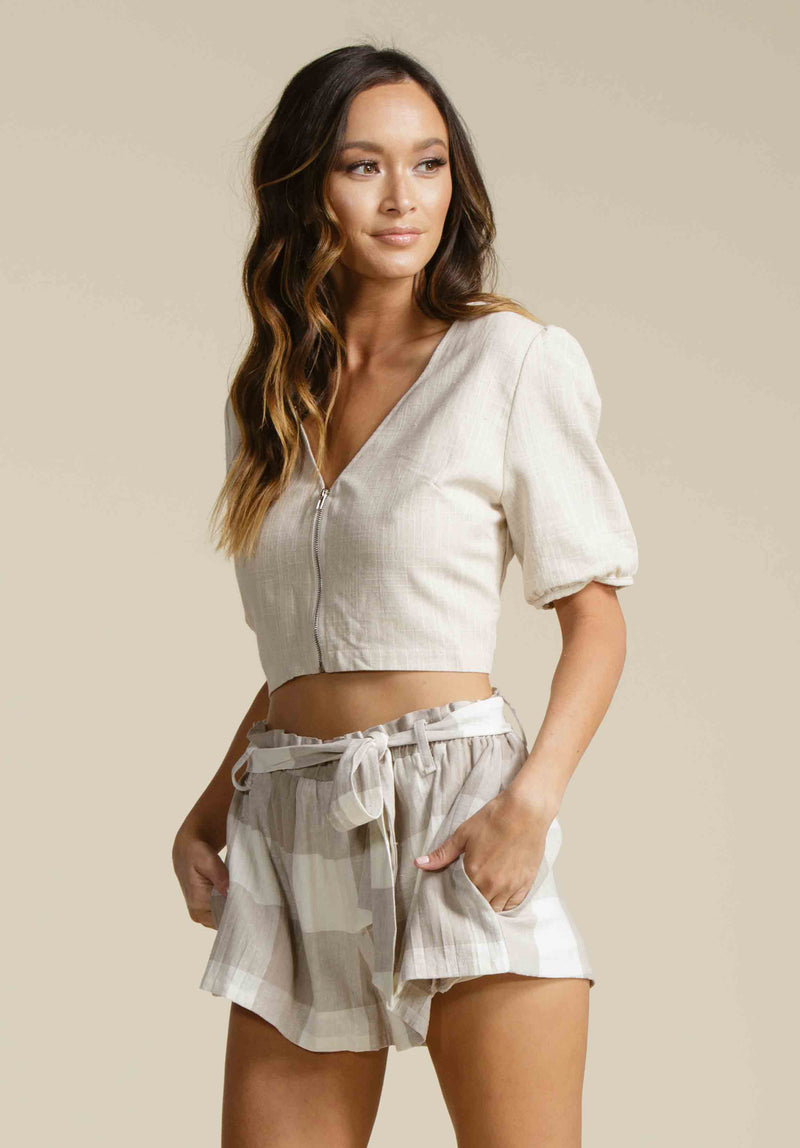 TEAGAN PUFF SLEEVE CROP TOP | LINEN BEIGE