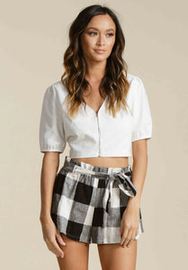 TEAGAN PUFF SLEEVE CROP TOP | WHITE