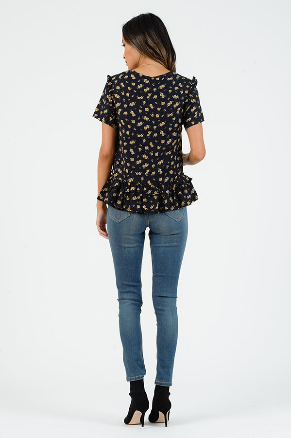 SHELBY SCOOP NECK RUFFLE TOP | NAVY FLORAL