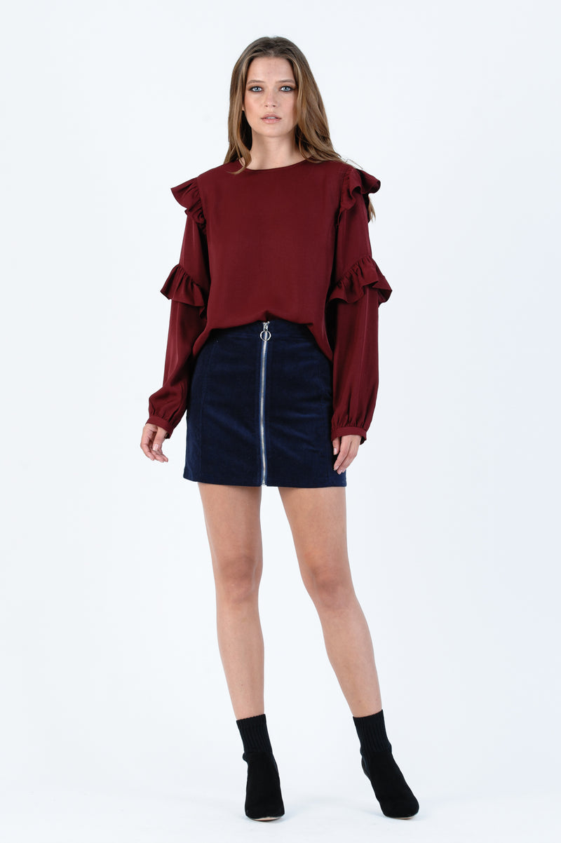 CHARLIE FRONT TIE CROP TEE | RED