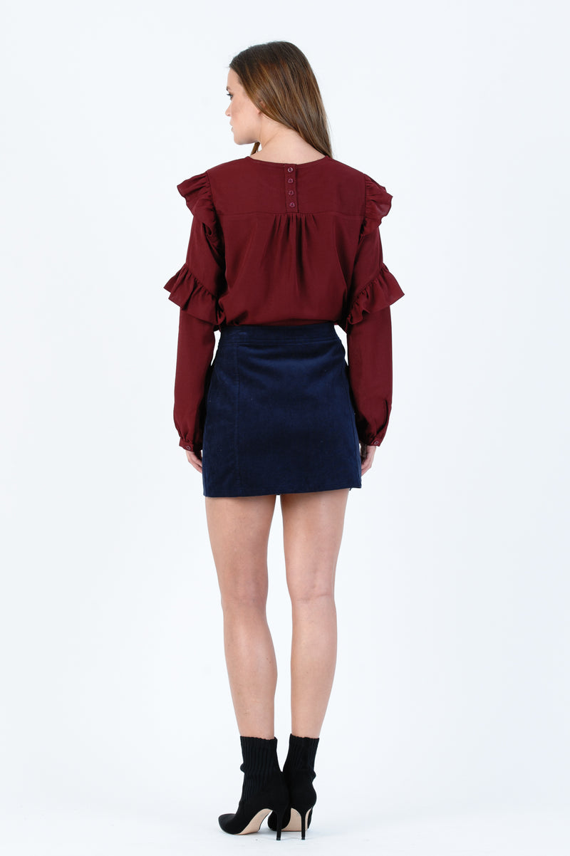ANNALISE HIGH-LOW BLOUSE | BURGANDY