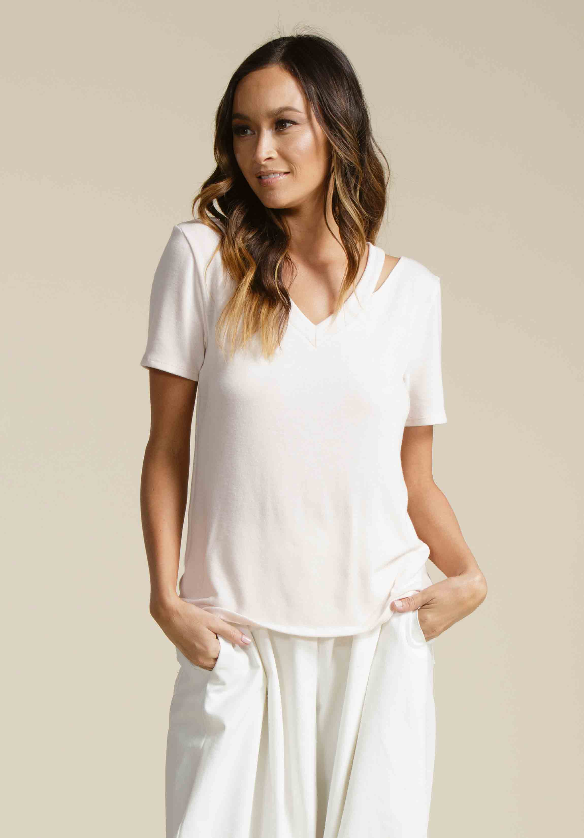 KATELYN CUT OUT TEE | BARELY PINK